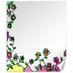 Floral Border Cartoon Flower Doodle Canvas 8  X 10  by Nexatart