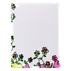 Floral Border Cartoon Flower Doodle Apple Ipad 3/4 Hardshell Case (compatible With Smart Cover) by Nexatart