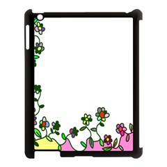 Floral Border Cartoon Flower Doodle Apple Ipad 3/4 Case (black) by Nexatart