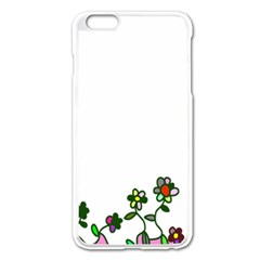 Floral Border Cartoon Flower Doodle Apple Iphone 6 Plus/6s Plus Enamel White Case by Nexatart