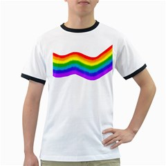 Watercolour Rainbow Colours Ringer T Shirts