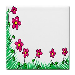 Floral Doodle Flower Border Cartoon Tile Coasters by Nexatart