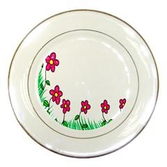 Floral Doodle Flower Border Cartoon Porcelain Plates by Nexatart