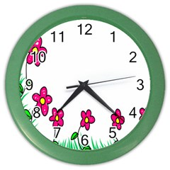 Floral Doodle Flower Border Cartoon Color Wall Clocks by Nexatart