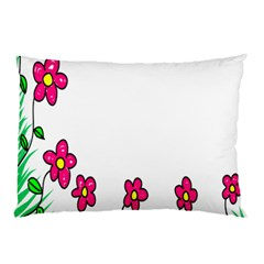 Floral Doodle Flower Border Cartoon Pillow Case by Nexatart