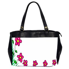 Floral Doodle Flower Border Cartoon Office Handbags (2 Sides)  by Nexatart