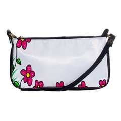 Floral Doodle Flower Border Cartoon Shoulder Clutch Bags by Nexatart