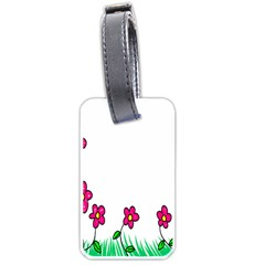 Floral Doodle Flower Border Cartoon Luggage Tags (one Side)  by Nexatart