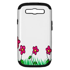 Floral Doodle Flower Border Cartoon Samsung Galaxy S Iii Hardshell Case (pc+silicone) by Nexatart