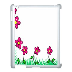 Floral Doodle Flower Border Cartoon Apple Ipad 3/4 Case (white) by Nexatart