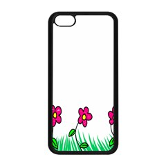 Floral Doodle Flower Border Cartoon Apple Iphone 5c Seamless Case (black) by Nexatart