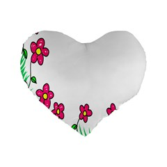 Floral Doodle Flower Border Cartoon Standard 16  Premium Flano Heart Shape Cushions by Nexatart