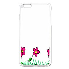 Floral Doodle Flower Border Cartoon Apple Iphone 6 Plus/6s Plus Enamel White Case by Nexatart