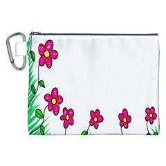Floral Doodle Flower Border Cartoon Canvas Cosmetic Bag (xxl) by Nexatart