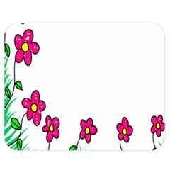 Floral Doodle Flower Border Cartoon Double Sided Flano Blanket (medium)  by Nexatart
