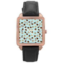 Donuts Pattern Rose Gold Leather Watch  by Valentinaart
