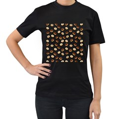 Donuts Pattern Women s T Shirt (black) (two Sided) by Valentinaart