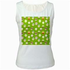 Cupcakes pattern Women s White Tank Top by Valentinaart