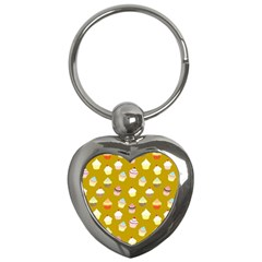 Cupcakes Pattern Key Chains (heart)  by Valentinaart