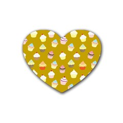 Cupcakes Pattern Rubber Coaster (heart)  by Valentinaart