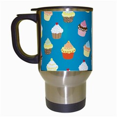 Cupcakes Pattern Travel Mugs (white) by Valentinaart