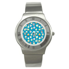 Cupcakes Pattern Stainless Steel Watch by Valentinaart