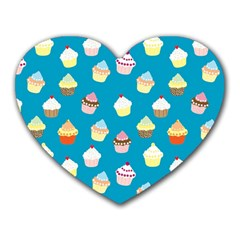 Cupcakes Pattern Heart Mousepads by Valentinaart