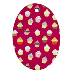 Cupcakes Pattern Oval Ornament (two Sides) by Valentinaart
