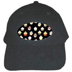Cupcakes Pattern Black Cap by Valentinaart