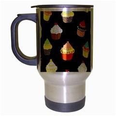 Cupcakes Pattern Travel Mug (silver Gray) by Valentinaart