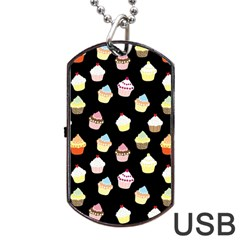 Cupcakes Pattern Dog Tag Usb Flash (two Sides) by Valentinaart