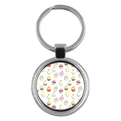 Cupcakes Pattern Key Chains (round)  by Valentinaart