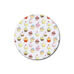 Cupcakes Pattern Rubber Coaster (round)  by Valentinaart