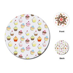 Cupcakes Pattern Playing Cards (round)  by Valentinaart