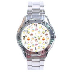 Cupcakes Pattern Stainless Steel Analogue Watch by Valentinaart