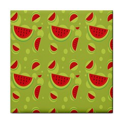 Watermelon Fruit Patterns Tile Coasters by Onesevenart