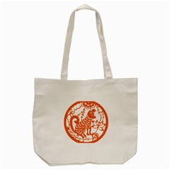 Chinese Zodiac Dog Tote Bag (cream) by Onesevenart