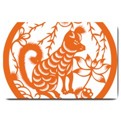 Chinese Zodiac Dog Large Doormat  by Onesevenart
