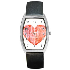 Pop Art Style Grunge Graphic Heart Barrel Style Metal Watch by dflcprints