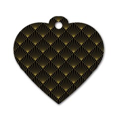 Abstract Stripes Pattern Dog Tag Heart (one Side) by Onesevenart