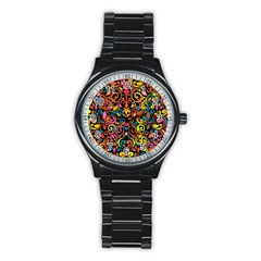 Art Traditional Pattern Stainless Steel Round Watch by Onesevenart