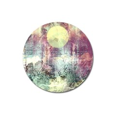 Frosty Pale Moon Magnet 3  (round) by theunrulyartist