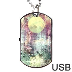 Frosty Pale Moon Dog Tag Usb Flash (one Side) by theunrulyartist