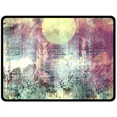 Frosty Pale Moon Double Sided Fleece Blanket (large)  by theunrulyartist