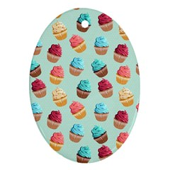 Cup Cakes Party Oval Ornament (two Sides) by tarastyle