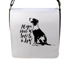 Dog Person Flap Messenger Bag (l)  by Valentinaart