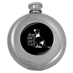 Dog Person Round Hip Flask (5 Oz) by Valentinaart
