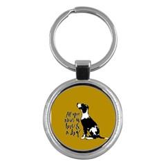 Dog Person Key Chains (round)  by Valentinaart
