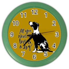 Dog Person Color Wall Clocks by Valentinaart