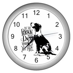 Dog Person Wall Clocks (silver)  by Valentinaart